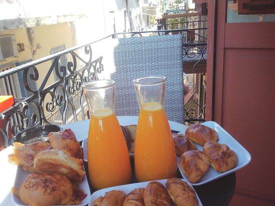 Kyveli Suites, balcony morning view and breakfast