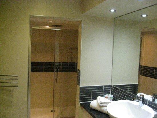 Great Hallingbury Manor: Nice, roomy shower room