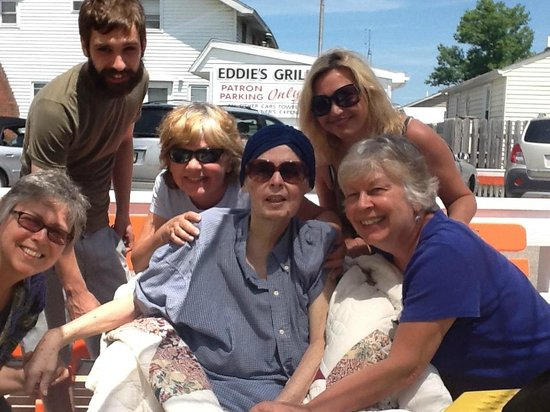 Eddie's Grill : My sister Mary Anne with sibling Patricia, me and my niece and nephew.