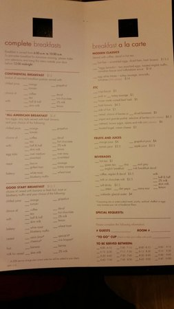 Albuquerque Marriott: breakfast menu