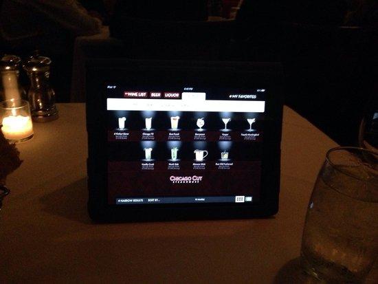 Chicago Cut Steakhouse : Drink menu iPad