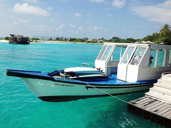 Four Seasons Resort Maldives at Kuda Huraa: Tropic Surf's surf boat.
