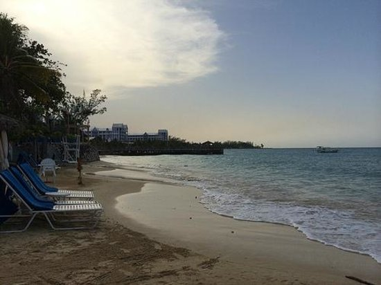Jewel Dunn's River Beach Resort & Spa, Ocho Rios,Curio Collection by Hilton: Beach looking towards Pier and RIU resort