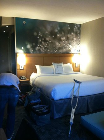 Courtyard Philadelphia South at The Navy Yard: King-sized bed, and the loveseat to the right pulled out into a bed!