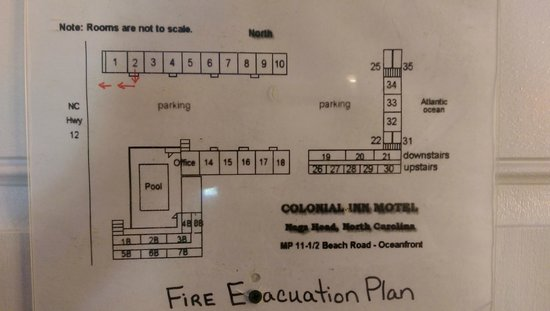 Colonial Inn: Layout of motel with room numbers