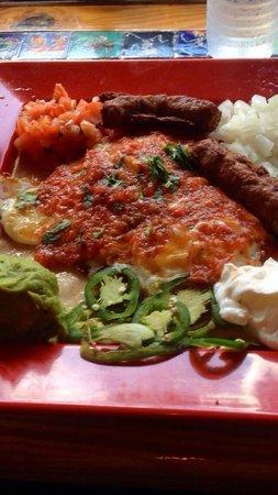 Amigos Tortilla Bar: Houevos Rancheros with sausage!  AMAZING