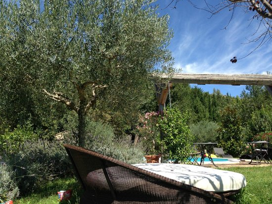 The Hidden Farmhouse: View towards the pool from the terrace