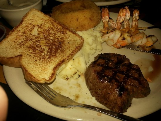 Blackbeard's Restaurant: my meal surf and turf with mashed potatoes and gravy