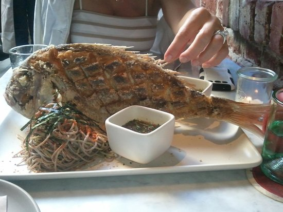 Tar and Roses: whole red snapper for two