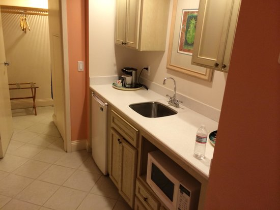 Radisson Resort at the Port: Kitchenette near entrance to room. Cabinets below sink would not close. Closet in th background
