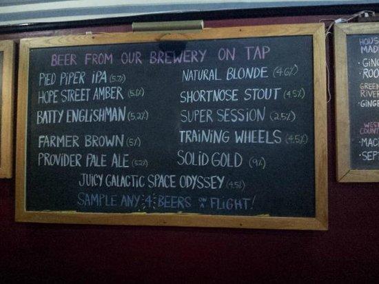 People's Pint Brewpub: Beers on tap