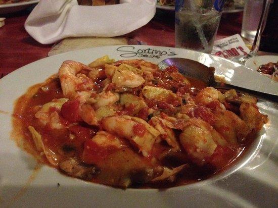 Sortino's Little Italy Ristorante: Shrimp Palermo with Artichoke Hearts and Mushrooms (10 BIG Shrimp!)