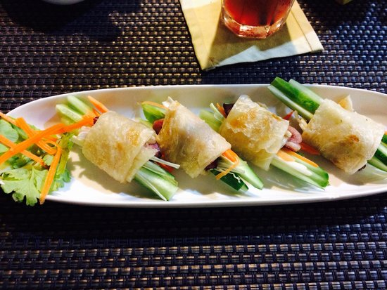 "Phensiri Thai Restaurant: Duck ""Springrolls"" (fresh vegetables wrapped in thin pancake) with plum sauce."