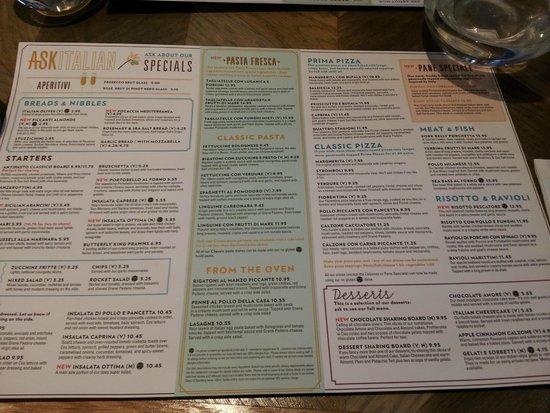Ask Italian - Bury St Edmunds: Extensive menu