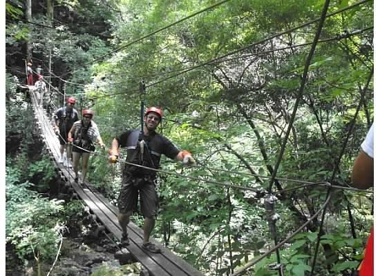 Parque de Aventura & Hotel Vista Golfo: suspended rope bridge