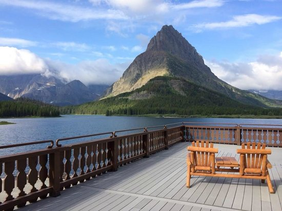 Many Glacier Hotel: view from public porch