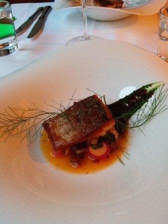 Demo: Fish dish on rhubarb and lobster sauce