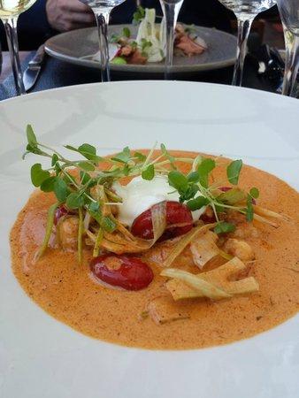Restaurant Prinses Juliana.: Forret med jomfruhummerhaler.