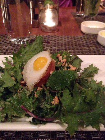 The Lodge at Woodloch : Caesar salad with a sunny side up quail egg