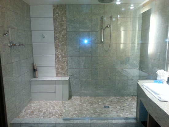 Glass waterfall shower picture of hard rock hotel and for Bath remodel tulsa