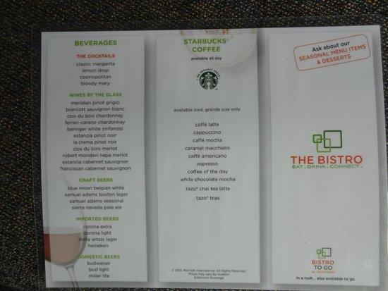 Courtyard Tacoma Downtown: Bistro menu