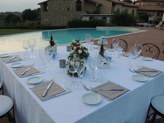 Ristorante Cortefreda: table set for our private dinner by the pool