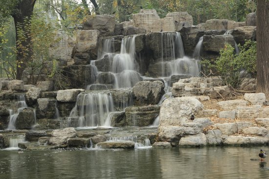 Beijing Zoo: Waterfall in the lake