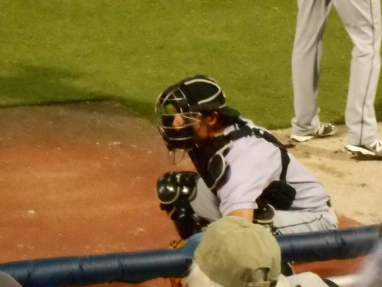 Blue Wahoos Ballpark: Jacksonville Suns Catcher warming up