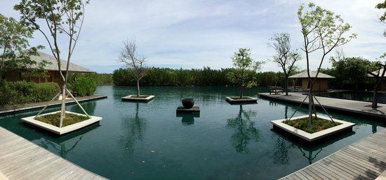 Amanyara: Calming pond next to the spa