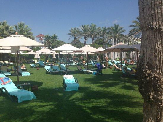 Cornelia De Luxe Resort: Grass are between pools and the beach