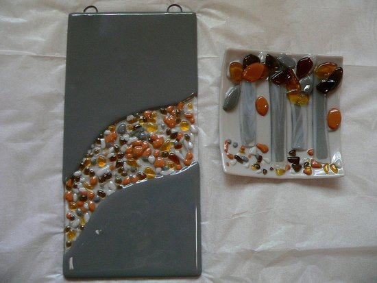The Glass Palette - Interactive Glass Art Studio: Soap Dish / Bathroom Wall Hanging I made with almost no training
