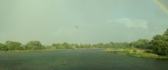 De Vere Cotswold Water Park: view from hotel room, dreadful weather but a calming rainbow