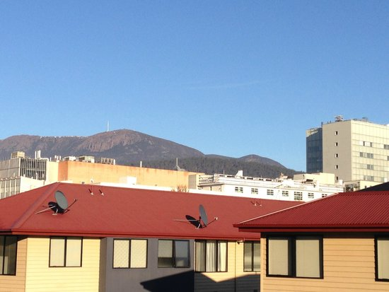 The Old Woolstore Apartment Hotel: View of Mt.Wellington from room