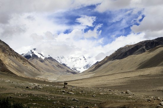 Rongbuk Monastery: Mt Everest is slightly visible, center right, in this view from Rongbuk.