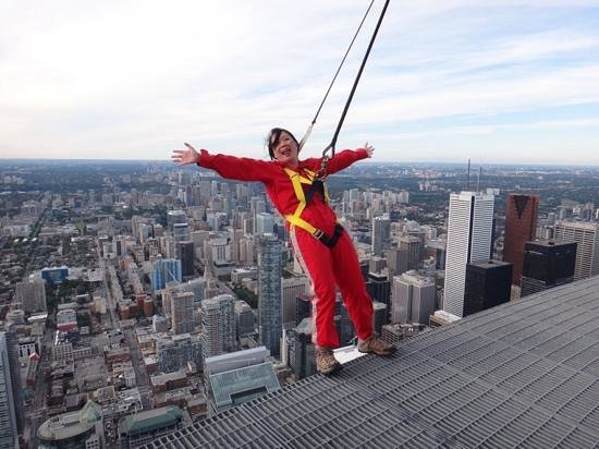 Edge Walk at the CN Tower: posing at 356m above ground