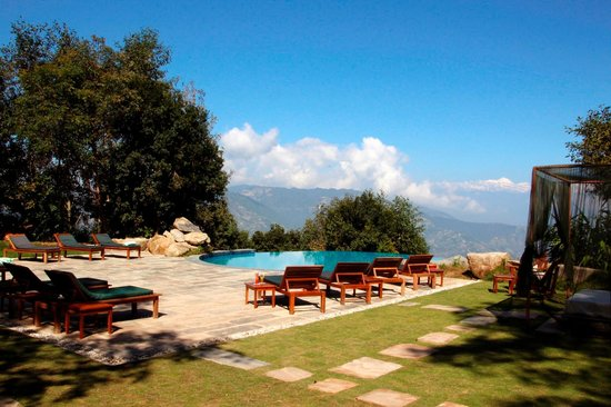 The Dwarika's Resort-Dhulikhel: The pool area with a view across to the Himalaya