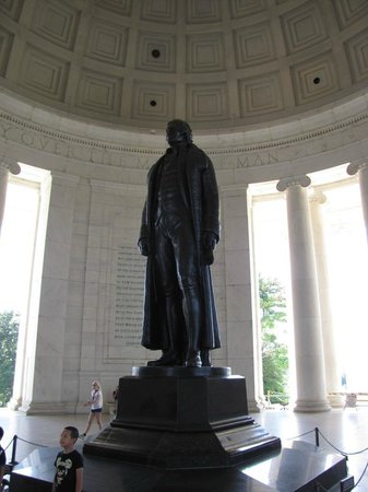 Jefferson Memorial: The centerpiece of the Memorial is a standing statue of Thomas Jefferson
