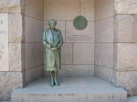 Franklin Delano Roosevelt Memorial : Mrs Eleanor Roosevelt's contibution to his Presidency is acknowledged