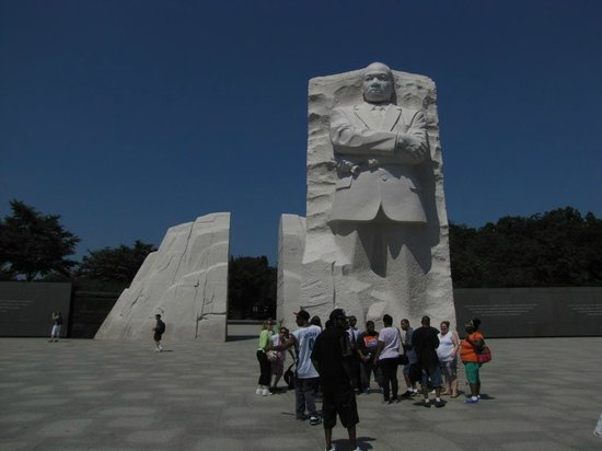 Martin Luther King, Jr. Memorial : The image of Dr King is as though it has been slid forward 30 feet or so from two other large pi