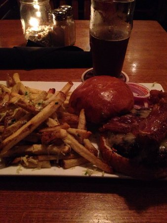 Whetstone Station Restaurant and Brewery: Tim's Awesome Burger with Station Fries and a Molly Stark!