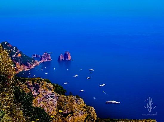 Mount Solaro : Faraglioni, view from Monte Solaro, Anacapri, Capri