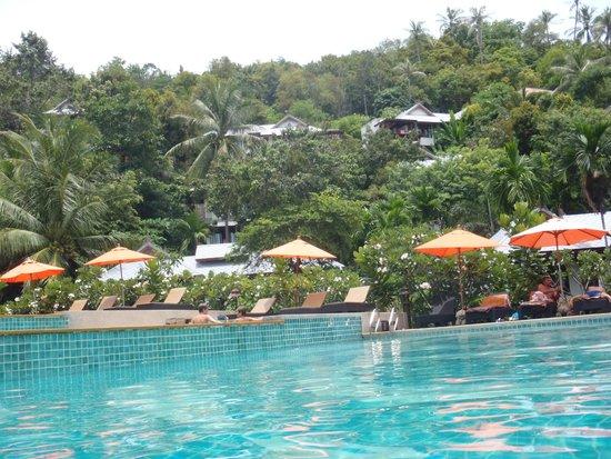 Salad Buri Resort & Spa: プールからホテル山側