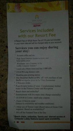 San Juan Marriott Resort & Stellaris Casino: $50 Resort Fee Inclusions