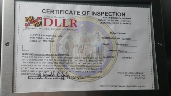 Hotel Monte Carlo: expired inspection of elevator (taken 8/27/14)