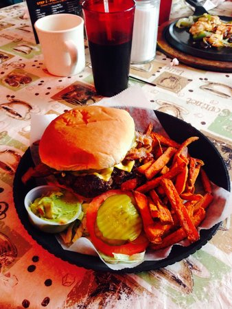 Val's It's About Time: The big one burger with sweet potato fries