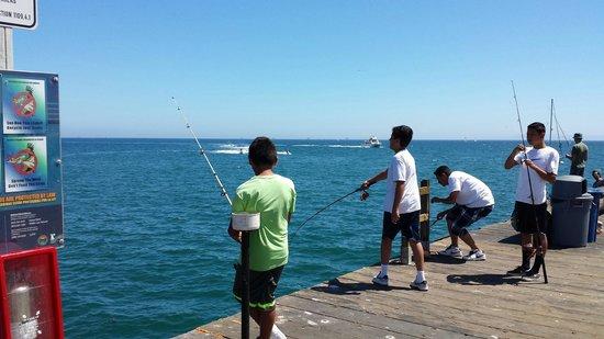Stearns Wharf : Fishing off the wharf - no guard rail