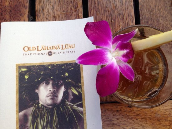 Old Lahaina Luau: Mia Tai and brochure