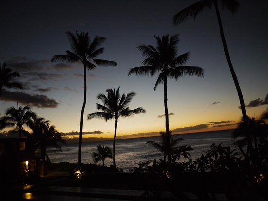 The Mauian Hotel on Napili Beach : 호텔 정원에서 바라본 napili bay