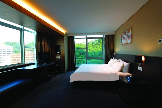 Hotel Grandis: Deluxe City View Room overlooking the lush greenery and partial sea view