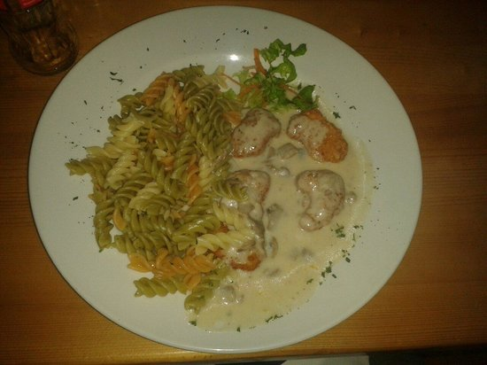 Nokturno : Chicken with mushroom sauce and pasta